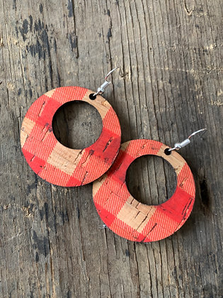Red Buffalo Check Round Cork Leather Earring