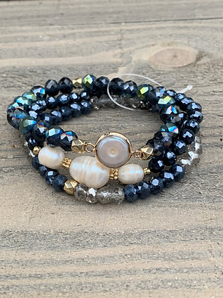 Gunmetal and Pearl Triple Stacked Stretch Bracelet Set