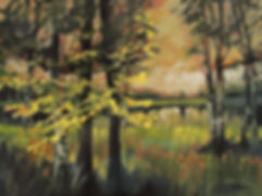 Judy Munro, 'Trees By The Lake', oil on wood panel