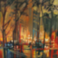 Judy Munro, Weekend In The City, oil on board