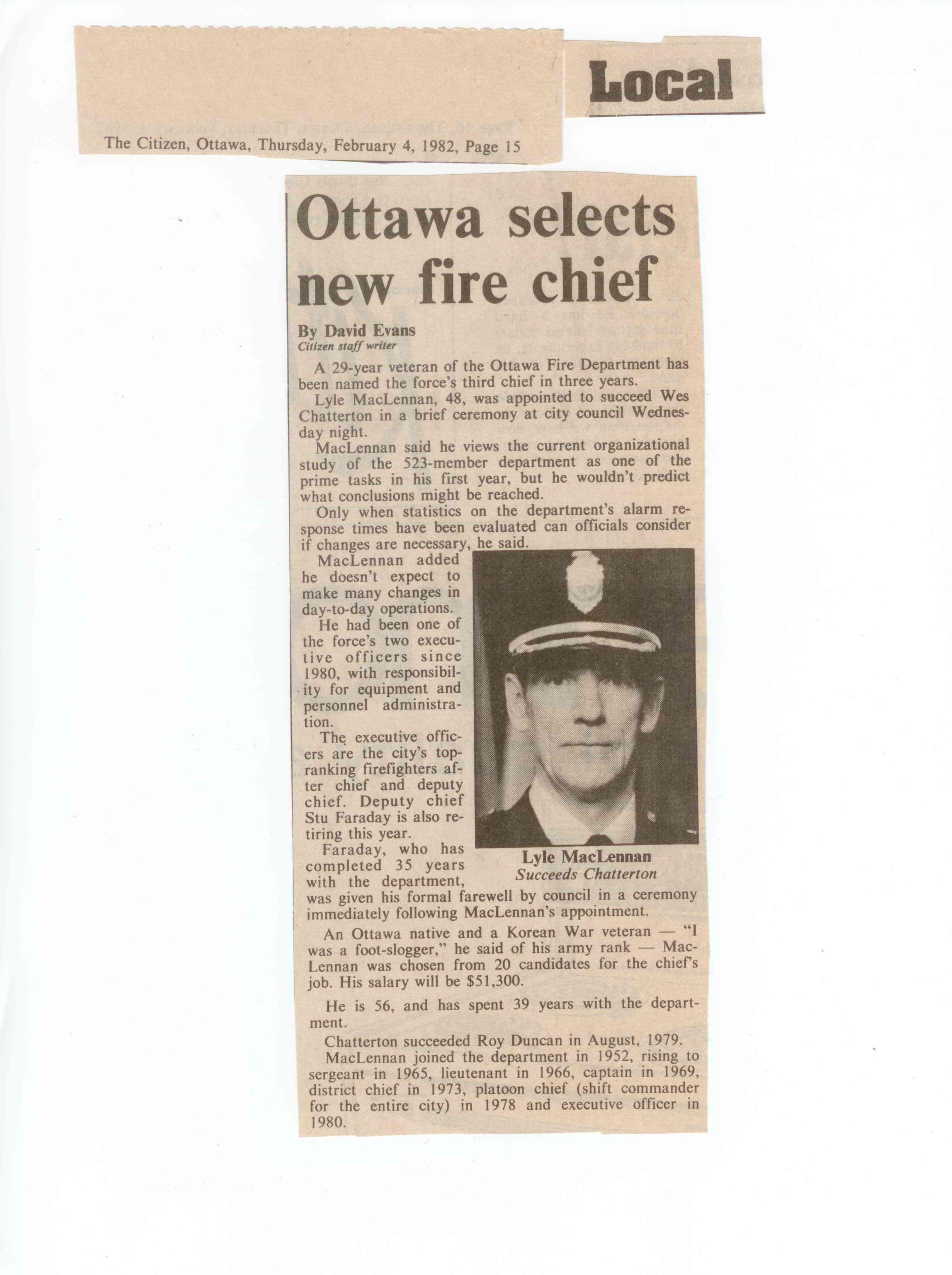 Ottawa selects new fire chief