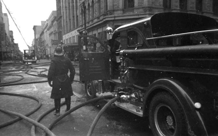 Ottawa Fire Department Pumper on the scene at the Dominion Methodist Church fire in 1961.