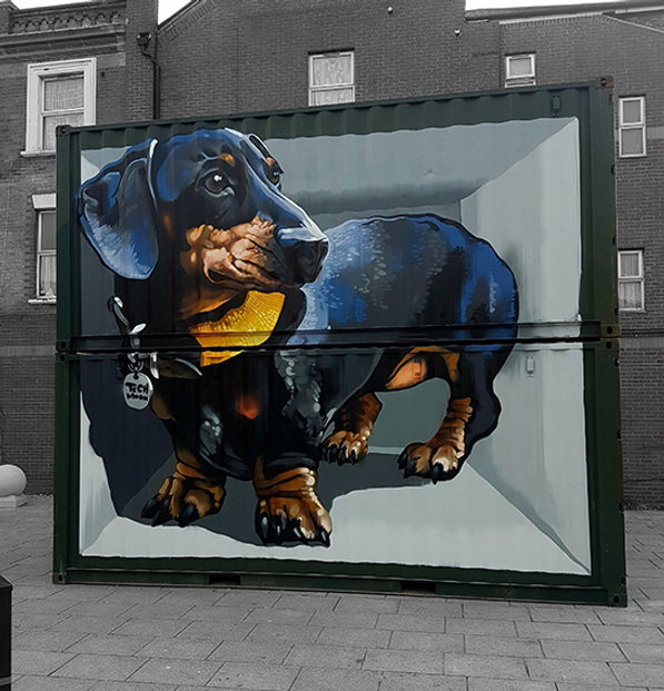 dachshund mural, street art, graffiti, tech moon