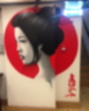 street art, graffiti, mural, krishna malla, tech moon, london, bournemouth, japan, geisha, portrait, realism,