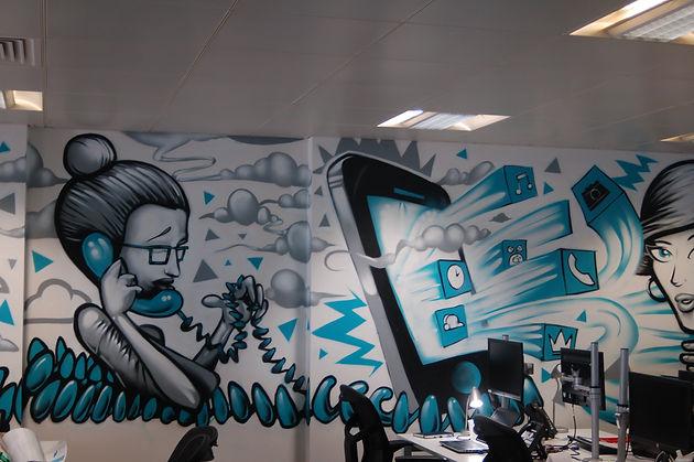 street art, graffiti, mural, krishna malla, captain kris, tech moon, london, mc saatchi, mobile, office,