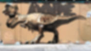 dinosaur graffiti, street art.
