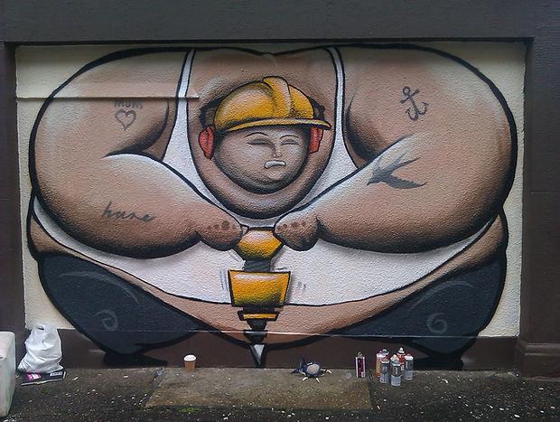 street art, graffiti, mural, krishna malla, tech moon, london, bournemouth, character, red bull, builders,
