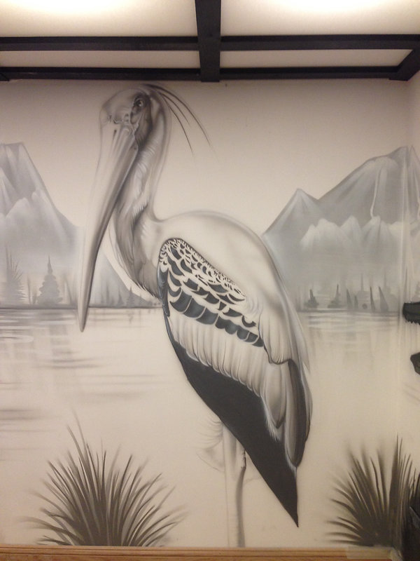 street art, graffiti, mural, krishna malla, tech moon, london, bournemouth, japan, stork,