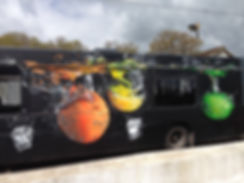 street art, graffiti, mural, krishna malla, tech moon, london, bournemouth, vehicle, bus, bar,