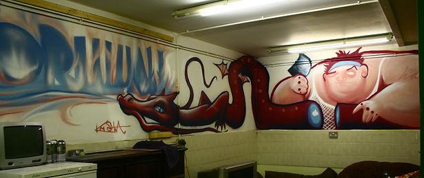 street art, graffiti, mural, krishna malla, tech moon, london, bournemouth, character, sushi