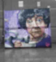 Street art mural, tech moon
