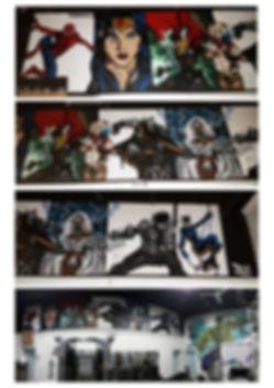 Street art, graffiti, mural, krishna malla, tech moon, Marvel, dc comics, batman, wolverine, storm, spiderman, superhero,
