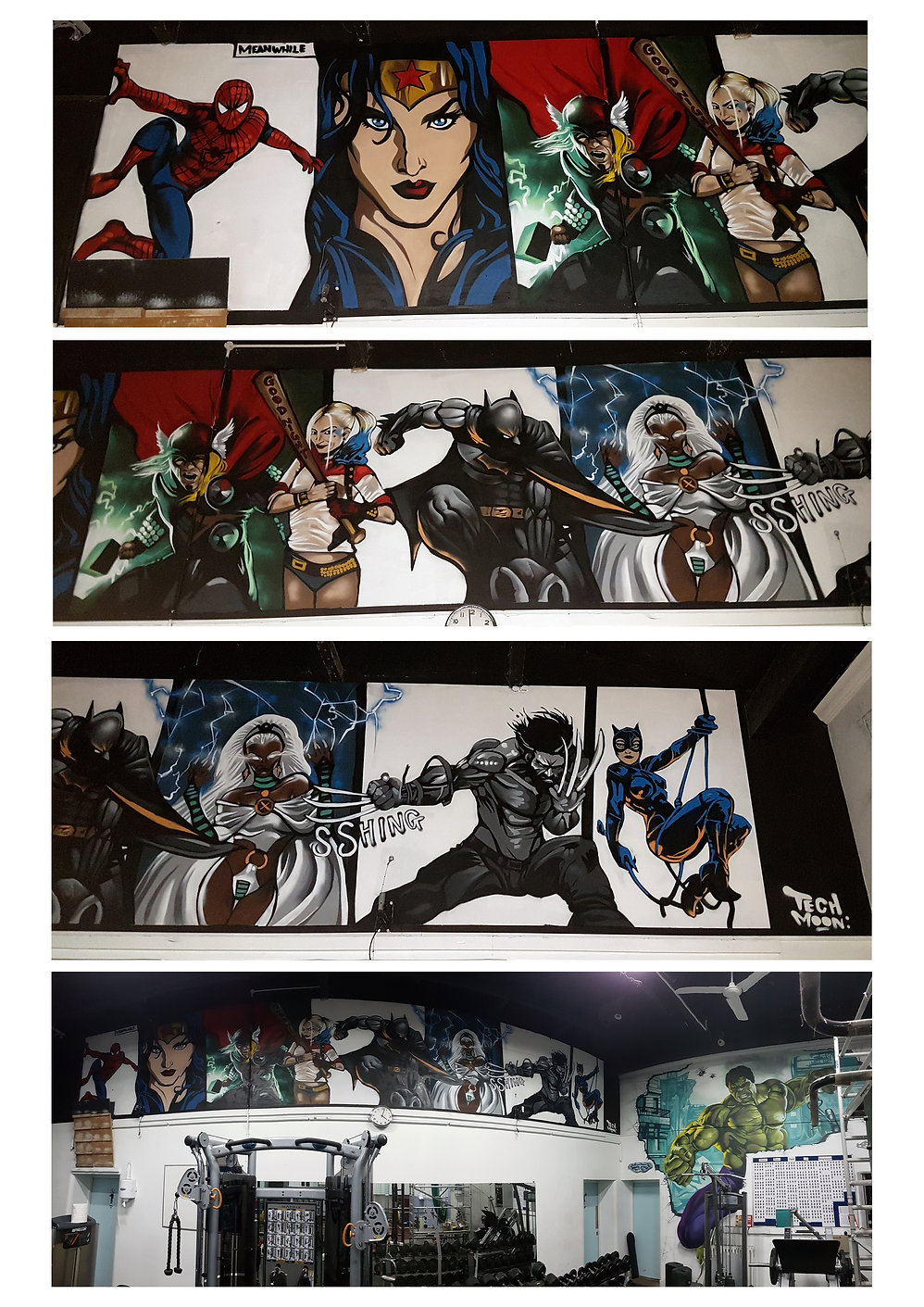 Street art, graffiti, mural, krishna malla, tech moon, Marvel, dc comics, batman, wolverine, storm, spiderman, superhero,