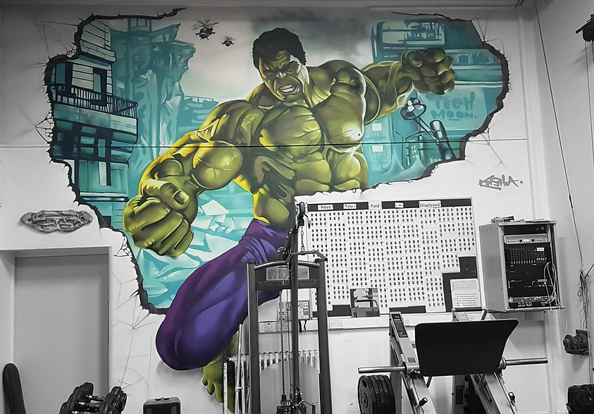Street art, graffiti, mural, krishna malla, tech moon, Marvel, the hulk, superhero,