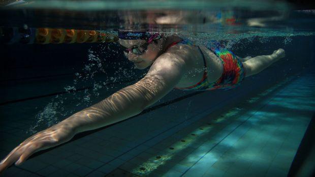 "Natalie Hazlewood training at Blacktown Aquatic Centre for the ""Transplant Games""."