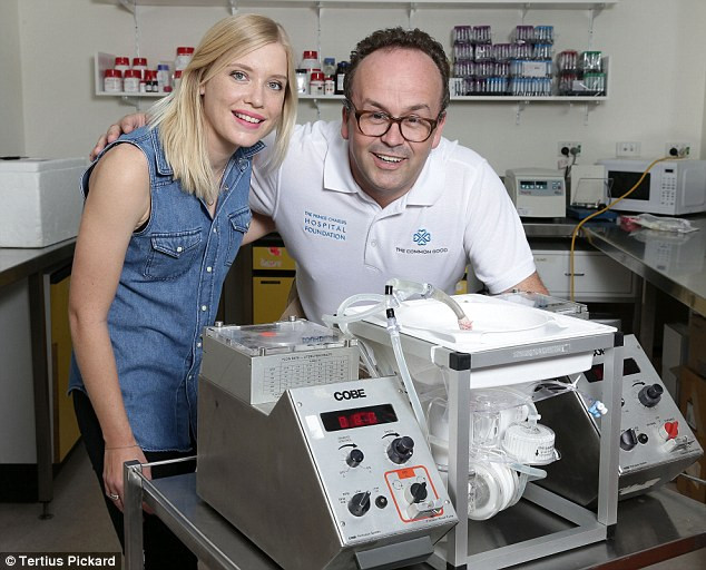 Kate Phillips and Professor John Fraser stand in front of the ex vivo machine, which supplies the donor heart with oxygen during transport