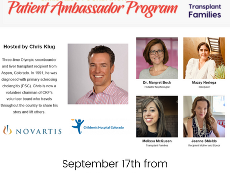 Pediatric Patient Ambassador Program Webinar Series with Chris Klug Foundation this Thursday 9/17/20