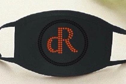 Red dR w/ Black Circle Rhinestone Mask