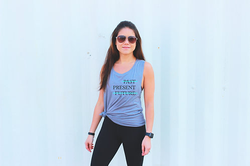 """Past Present Future"" Flowy Muscle Tank"