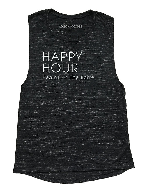 Happy Hour Begins At The Barre Flowy Muscle Tank