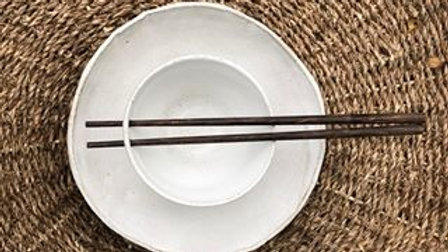 Plate and bowl with chop sticks