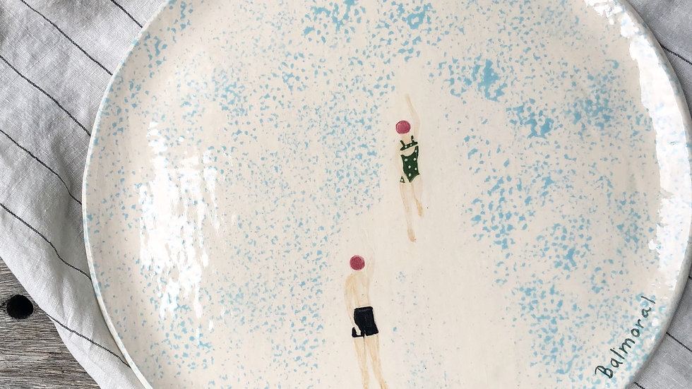Swimming couple at Balmoral beach , platter d-31cm