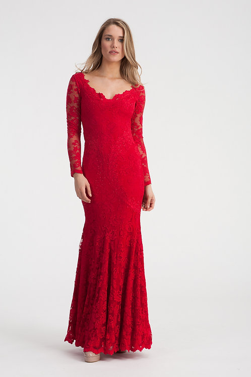 """Valentino Red Lace Gown """"Avery"""""""