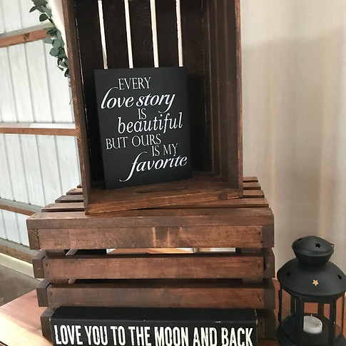4 stained brown crates, 2 love signs and               23 brown small lanterns