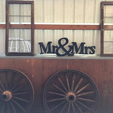 Mr and Mrs. sign and 2 antique windows