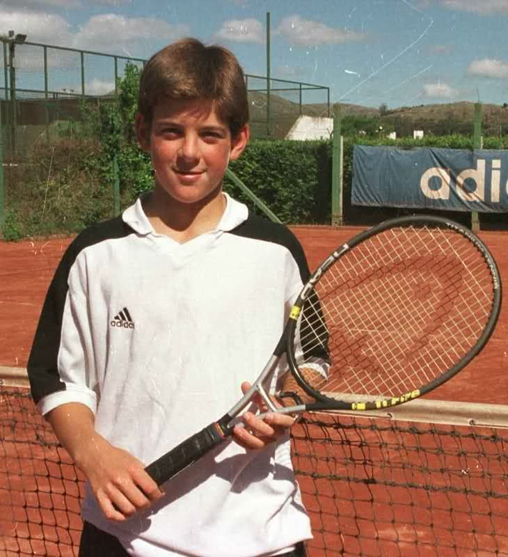 Young Juan Martin Del Potro holds tennis racket
