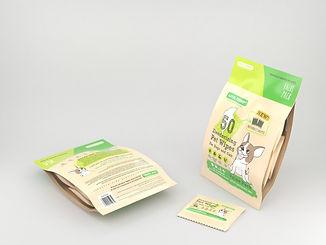 Pack de bolsas individuales de paños húmedos hipoalergénicos