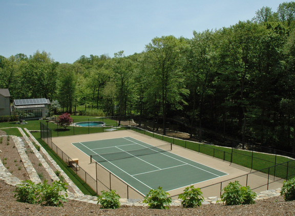 Terraced Grove and Tennis Court