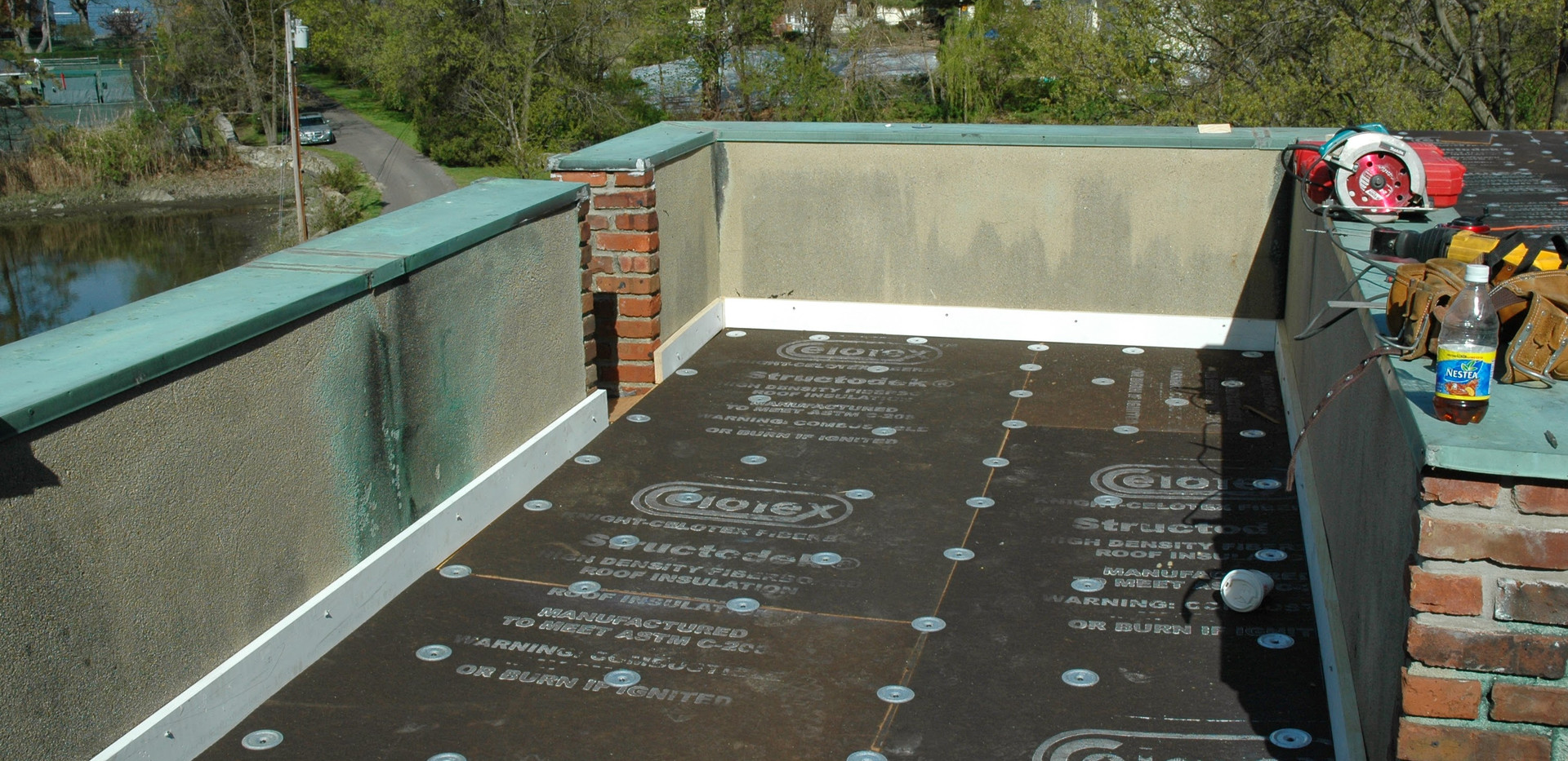 Insulation intsaled to pitch to new darinage system