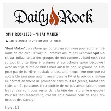 Chhronique album Spit Reckless - DailyRock.