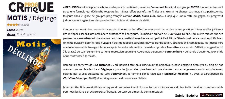 Chronique magazine Critique Prog