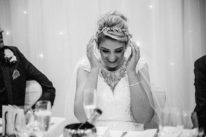 bride laughter red hall hotel wedding