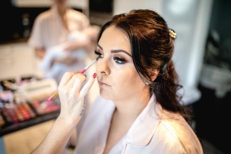 Red hall hotel bridesmaid makeup