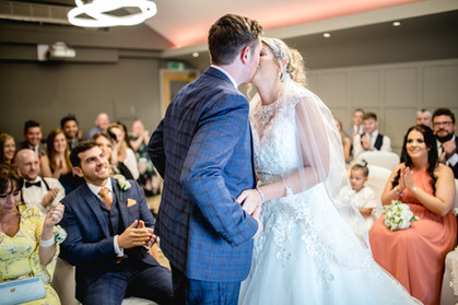 red hall hotel wedding first kiss