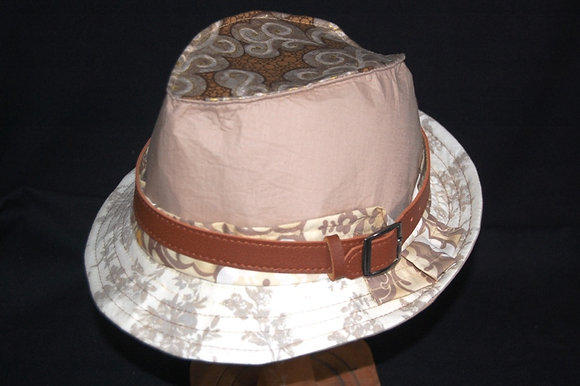 Neutral and Biscuit Trilby with leather trim