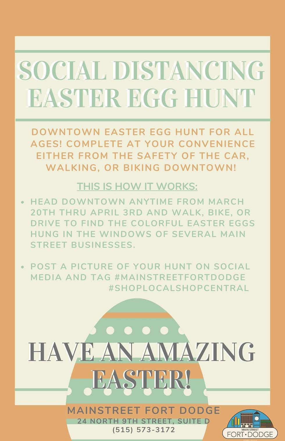 Social Distancing easter egg hunt flyer.