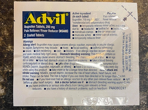 Packets of Aleve & Advil
