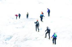 Gutsy women on glacier