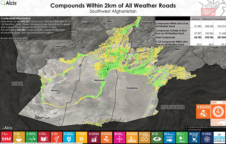 Compounds within 2km of all weather roads Southwest Afghanistan SDG 9.1.1.jpg