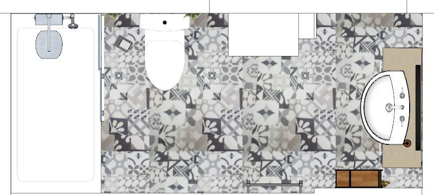 2D Floor Plan Design of Bathroom