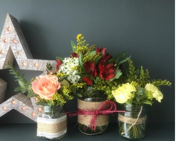 Jam Jar Flower Arrangement