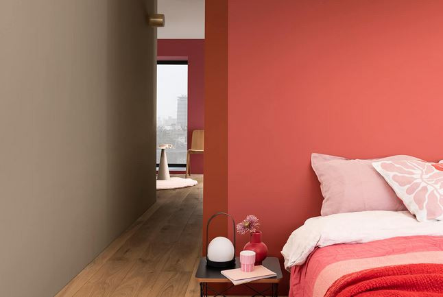 Bedroom display using the expressive colour palette featuring Brave Ground colour of the year 2021
