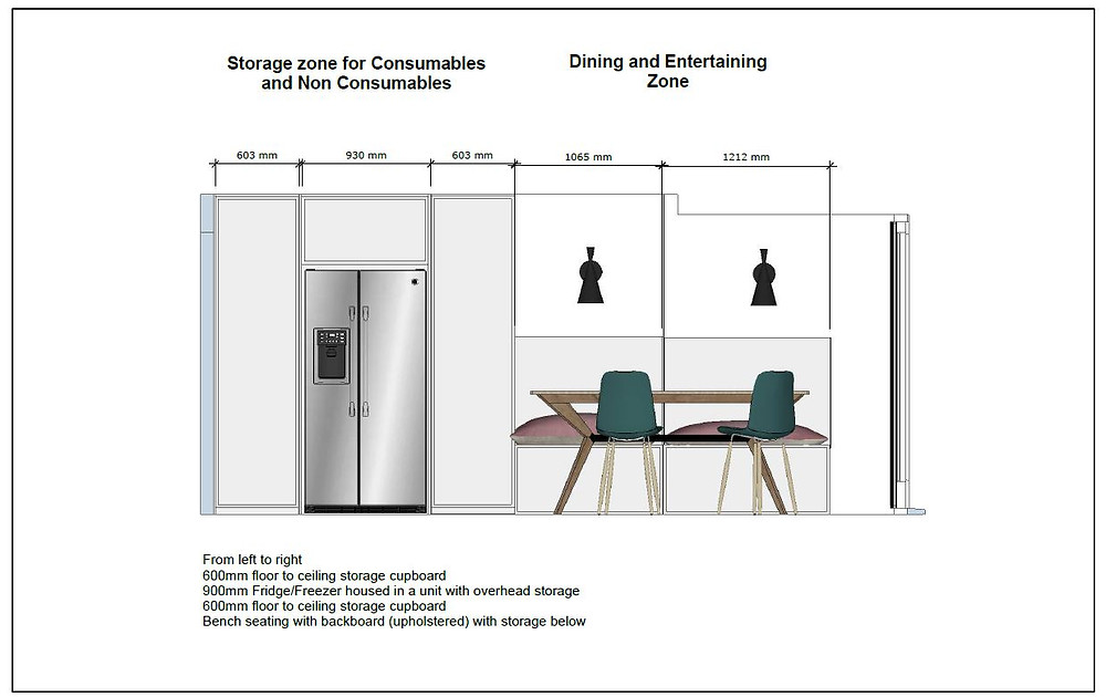 Elevation view of the concept design for the T shaped kitchen