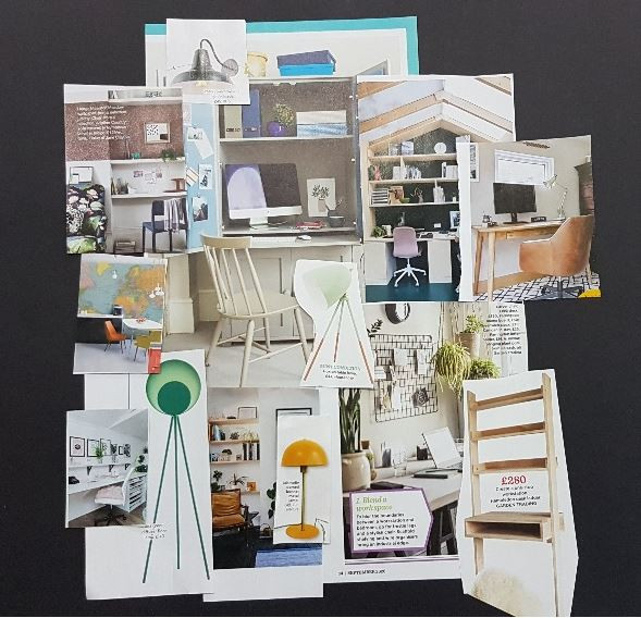 Pictures torn from magazines to show ideas for a new home office