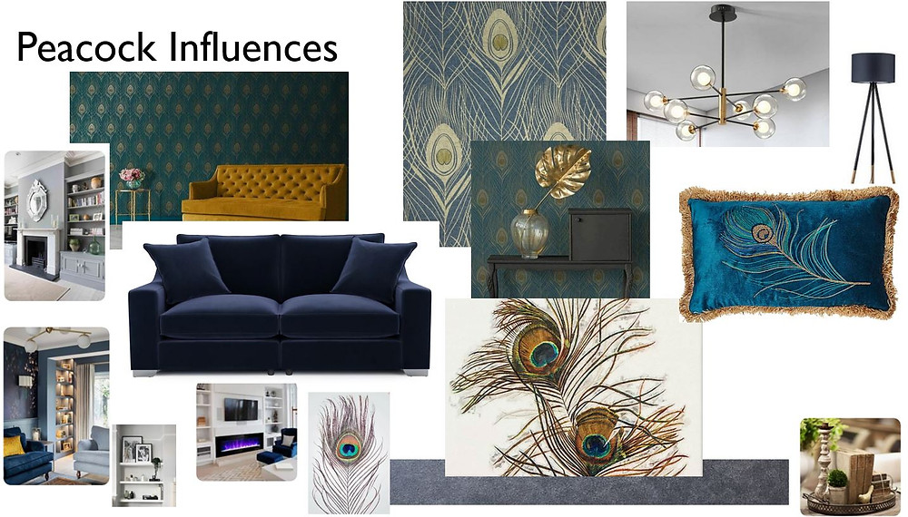 Design board of ideas for the living room design focused around peacock feathers and colours