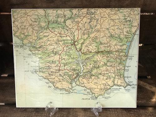Vintage Map Mat Kingsbridge & Aveton Gifford